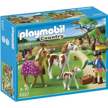 PLAYMOBIL CUIDADORA C/CABALLOS