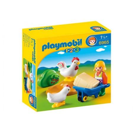 PLAYMOBIL 1.2.3. GRANJERA CON GALLINAS
