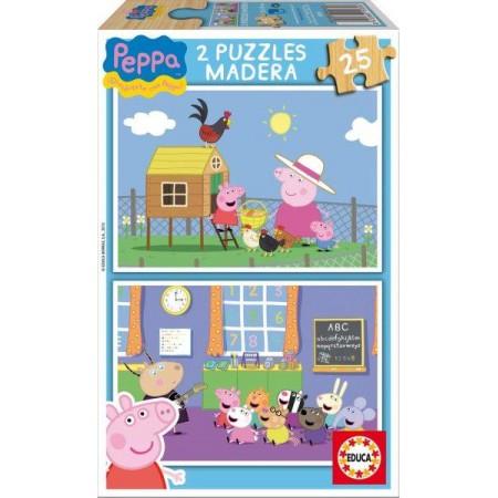 PUZZLE 2x25 PZAS. MADERA PEPPA PIG