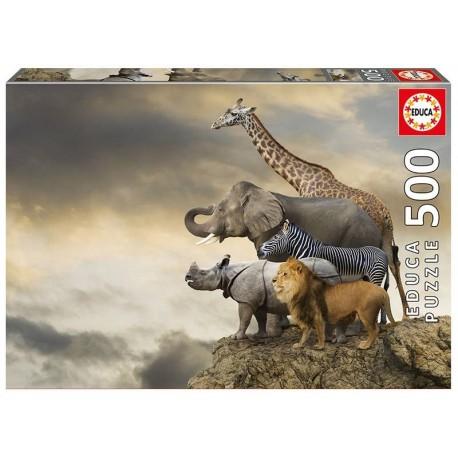 PUZZLE 500 PZAS. ANIMALES AL BORDE DEL ABISMO