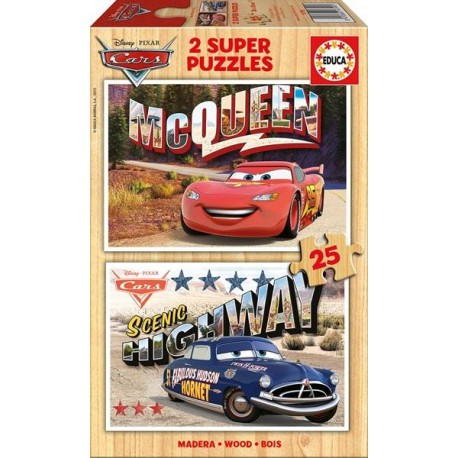 PUZZLE MADERA 2x25 PZAS. CARS