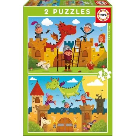 PUZZLE 2x48 PZAS. DRAGONES Y CABALLEROS
