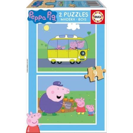 PUZZLE MADERA 2x9 PZAS. PEPPA PIG