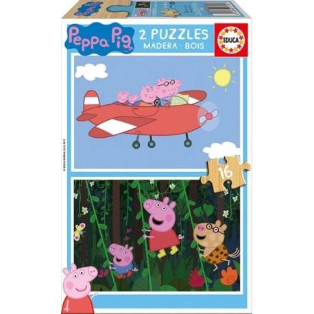 PUZZLE MADERA 2x16 PZAS. PEPPA PIG