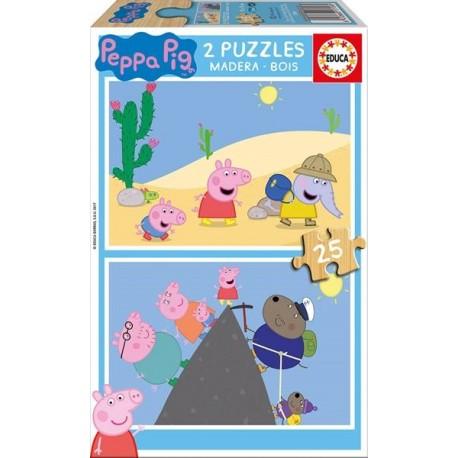 PUZZLE MADERA 2x25 PZAS. PEPPA PIG